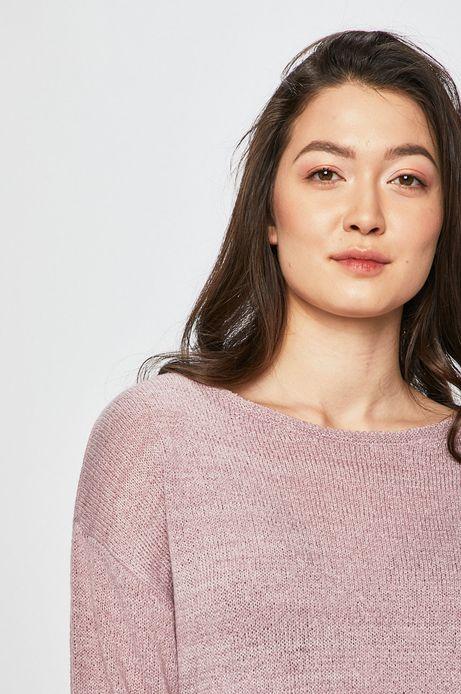 Sweter damski z rękawem 3/4 różowy