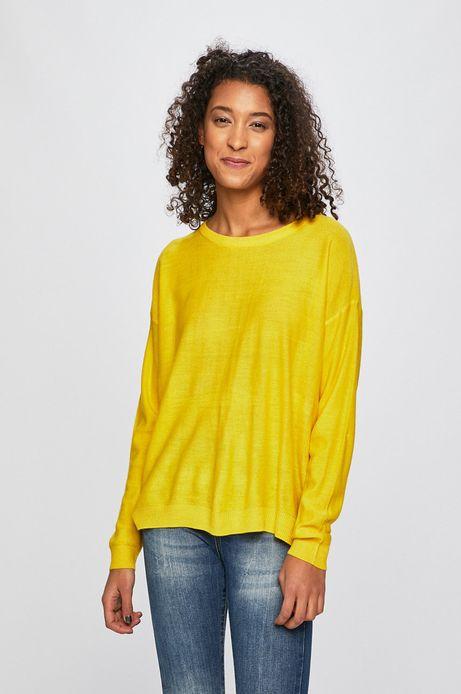 Sweter damski z obniżoną linią ramion żółty