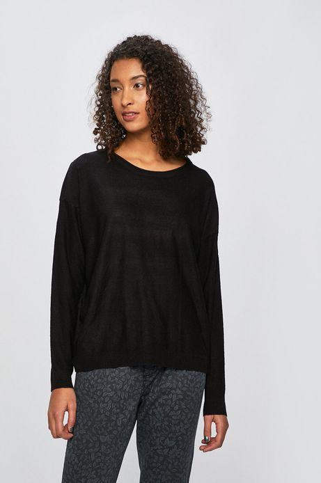 Sweter damski z obniżoną linią ramion czarny