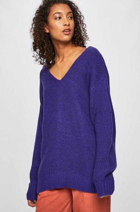 Sweter damski ze spiczastym dekoltem fioletowy
