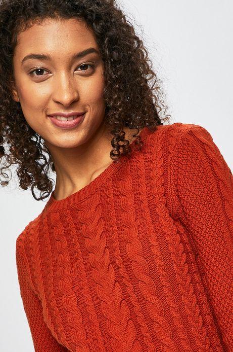 Sweter damski ze splotem w warkocze pomarańczowy
