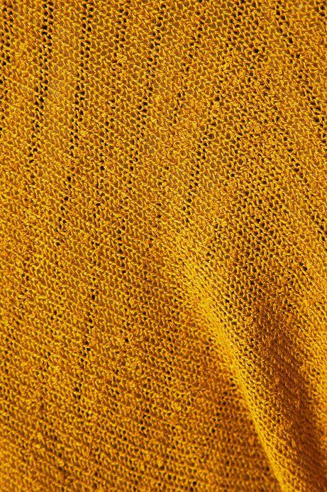 Kardigan damski z rękawem 3/4 żółty