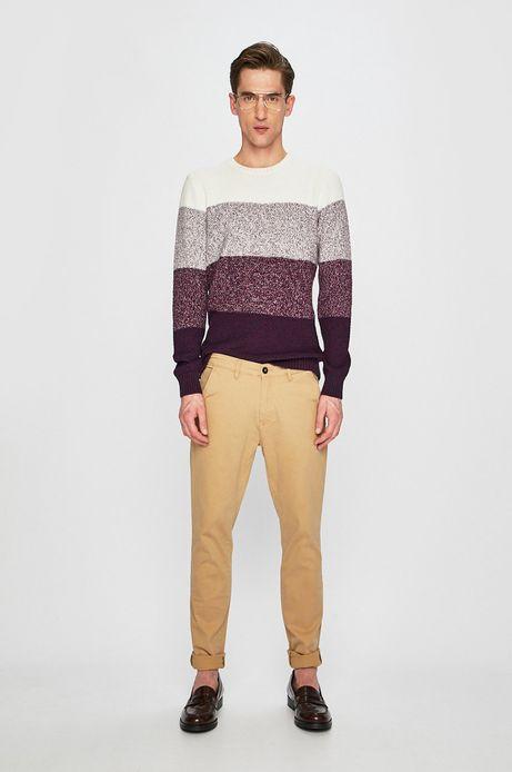 Sweter męski w paski fioletowy