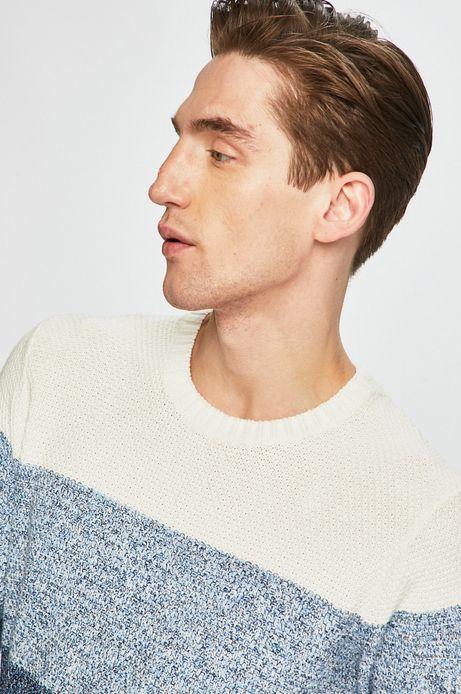 Sweter męski w paski niebieski