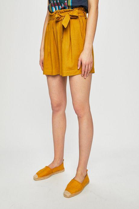 Szorty damskie z domieszką lnu żółte