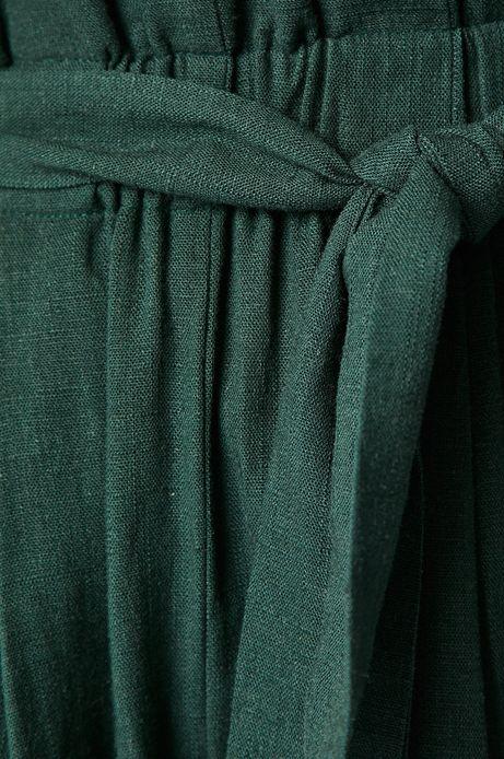 Szorty damskie z domieszką lnu zielone