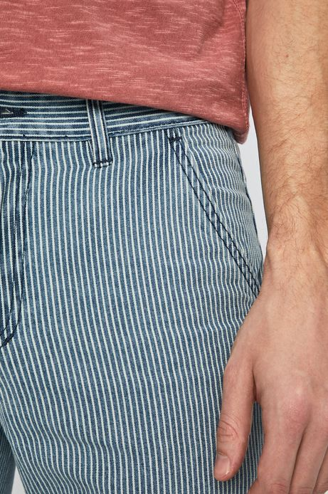 Szorty jeansowe w paski męskie niebieskie
