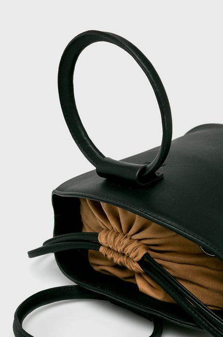 Torebka damska z komorą ściąganą troczkami czarna