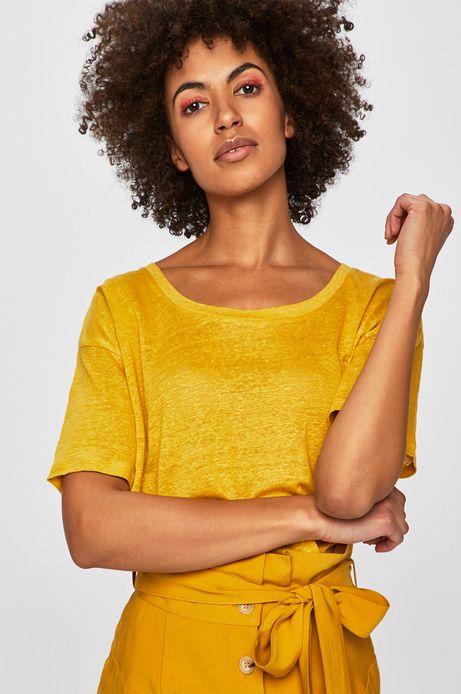 Top damski lniany żółty