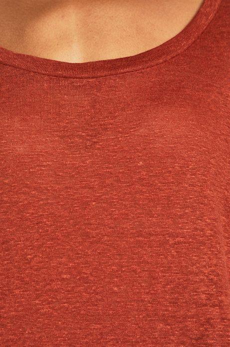 Top damski lniany czerwony