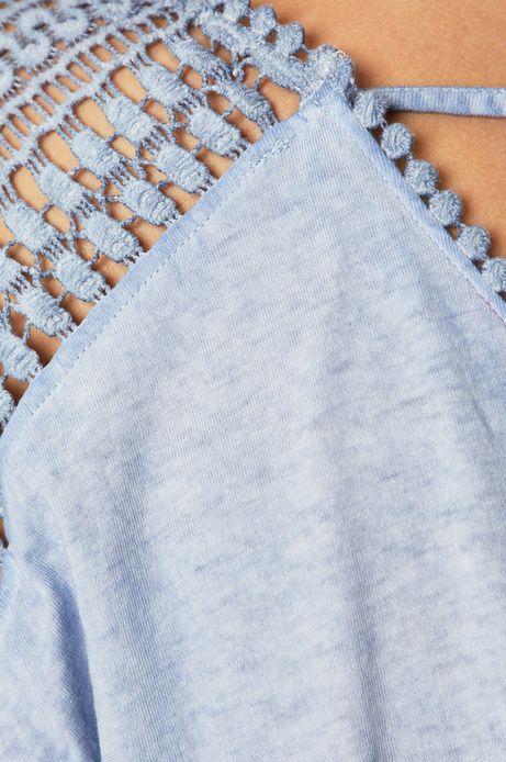 Top damski z koronkową wstawką niebieski