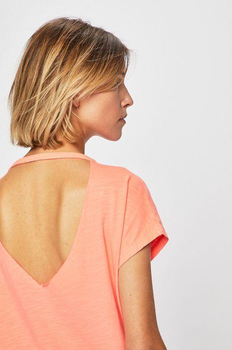 Top damski z wycięciem na plecach różowy