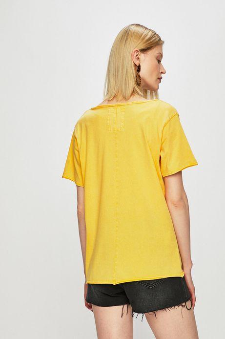 Top damski z okrągłym dekoltem żółty