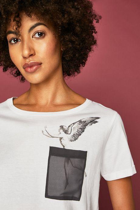 T-shirt damski z kolekcji Aviva L'arte z nadrukiem biały
