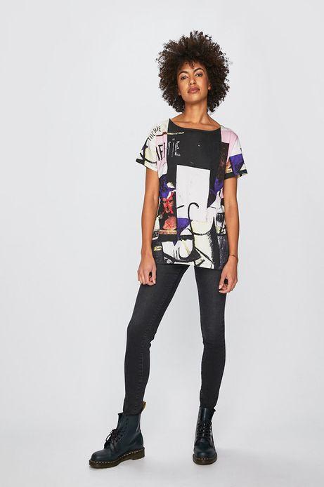 T-shirt damski z kolekcji Eviva L'arte wzorzysty biały