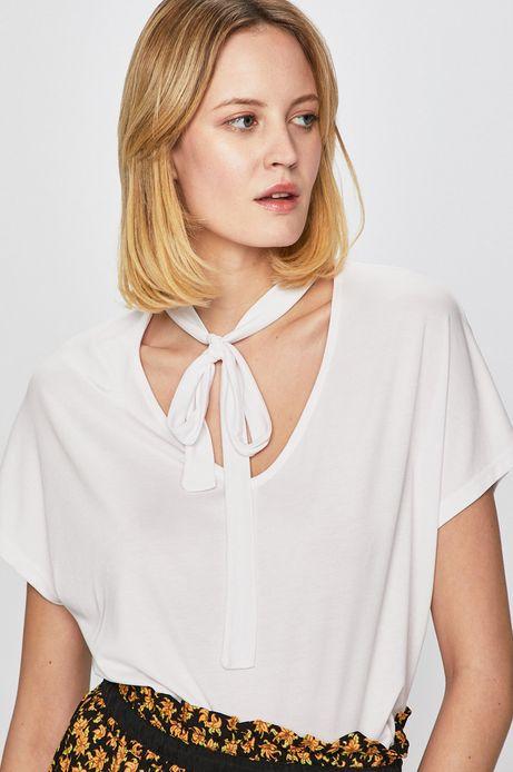 Top damski z wiązaniem przy szyi biały