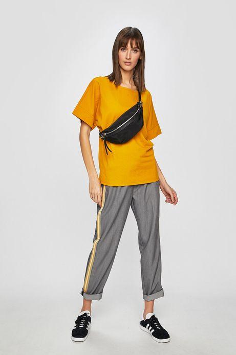 Top damski z gładkiej tkaniny żółty