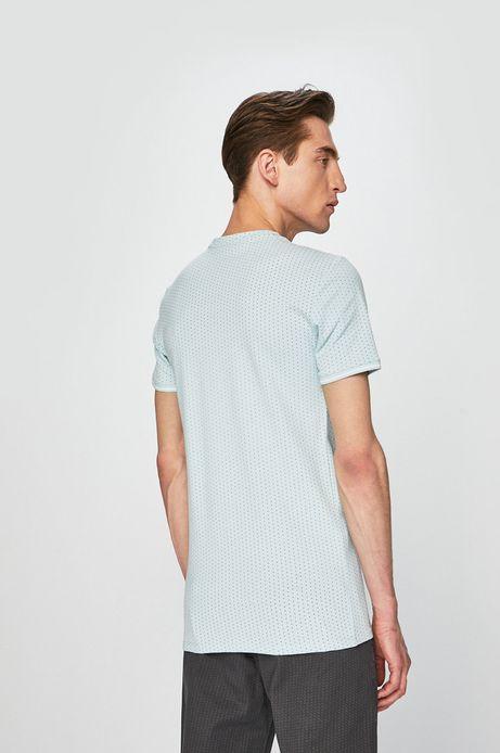 T-shirt męski wzorzysty niebieski