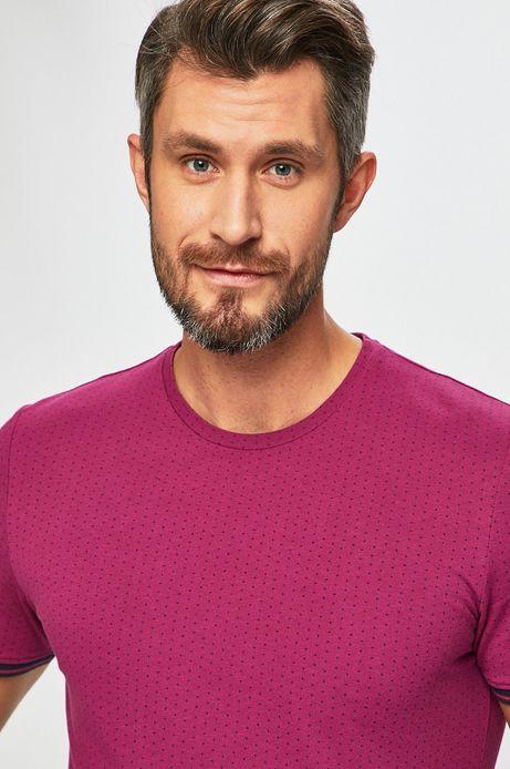 T-shirt męski wzorzysty fioletowy