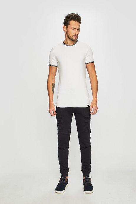 T-shirt męski z lamówką biały