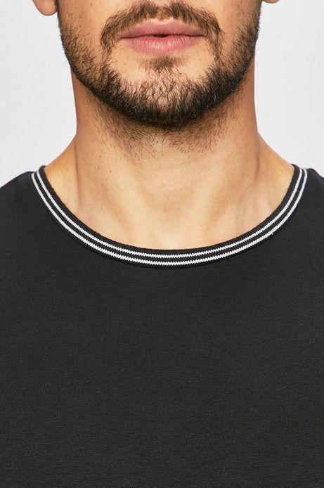 T-shirt męski z lamówką czarny