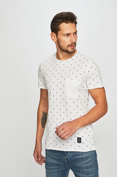 T-shirt męski w czaszki biały