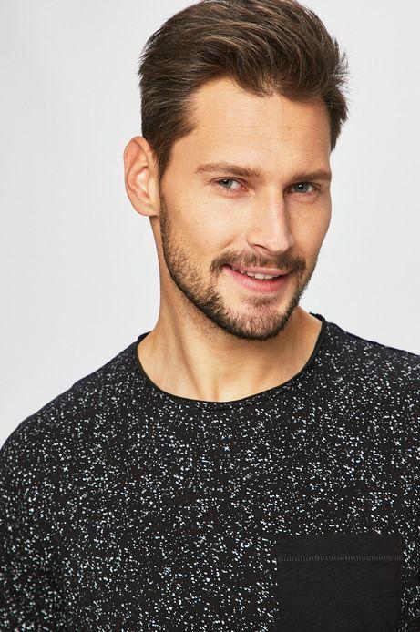 T-shirt męski wzorzysty czarny