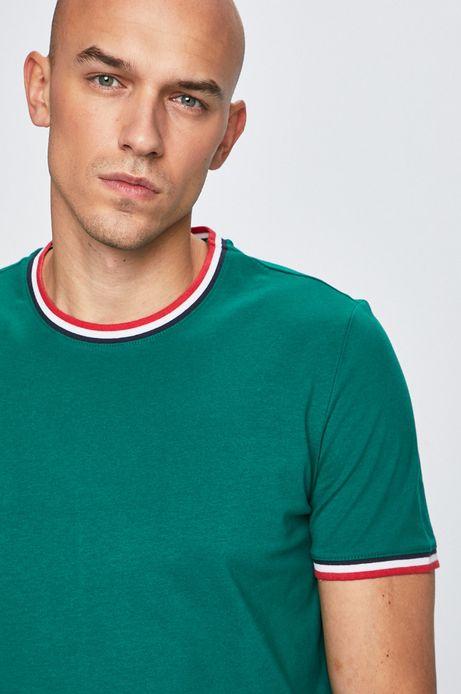 T-shirt męski z lamówką zielony