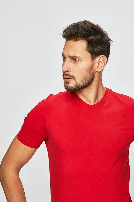T-shirt męski ze spiczastym dekoltem czerwony