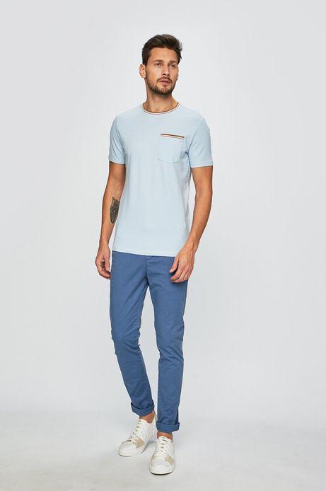 T-shirt męski z lamówką niebieski