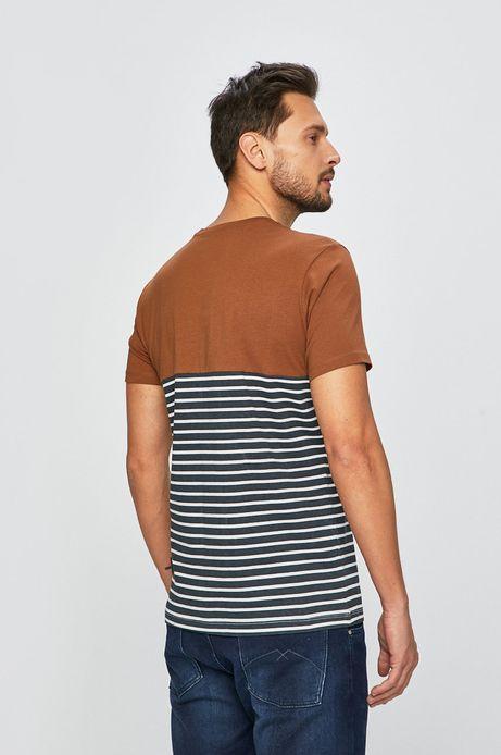 T-shirt męski z kieszonką brązowy