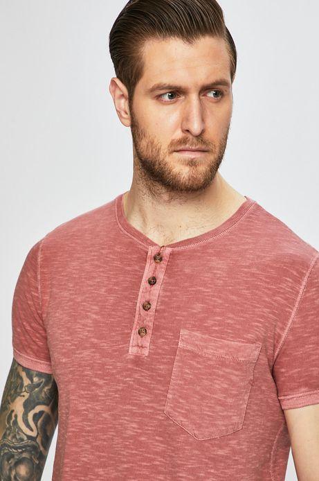 T-shirt męski z kieszonką różowy