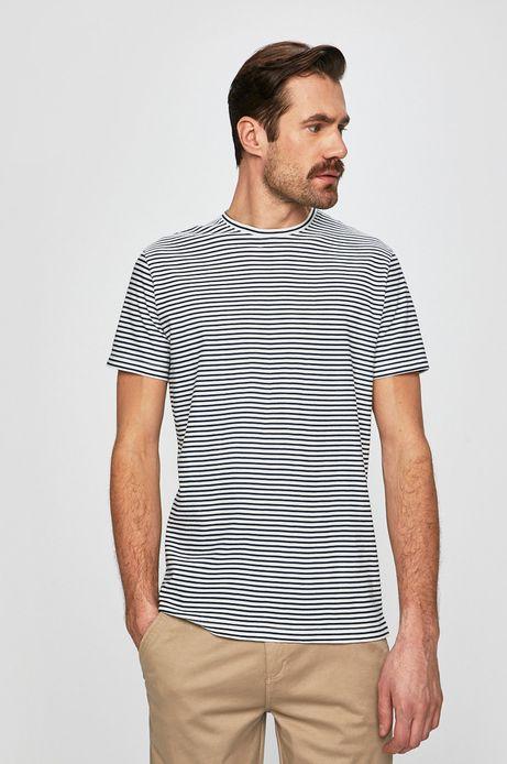 T-shirt męski z domieszką lnu biały