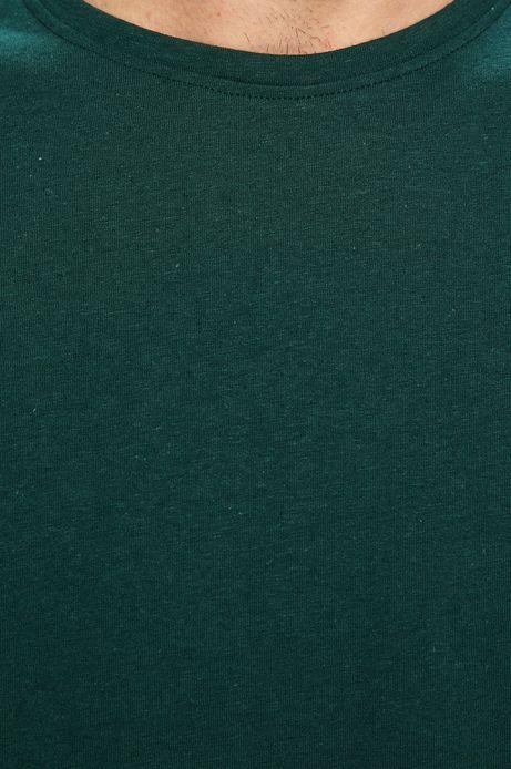 T-shirt męski z domieszką lnu zielony