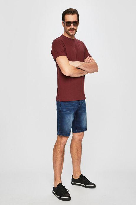 T-shirt męski z domieszką lnu brązowy