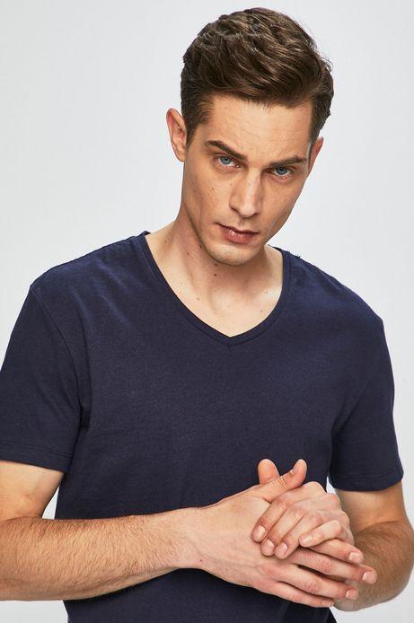T-shirt męski ze spiczastym dekoltem granatowy