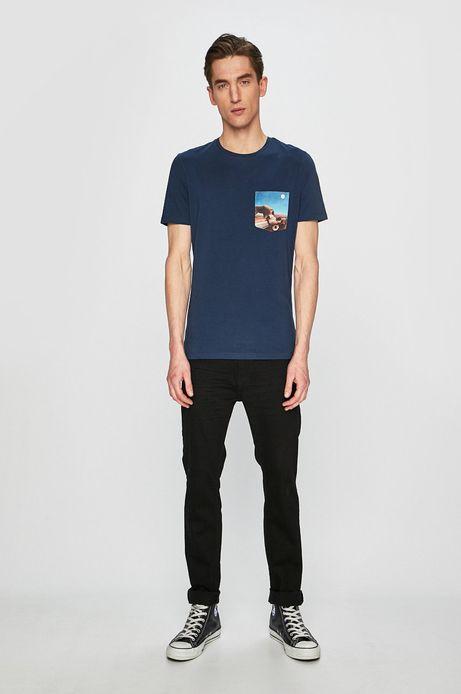 T-shirt męski z kolekcji Eviva L'arte z kieszonką turkusowy