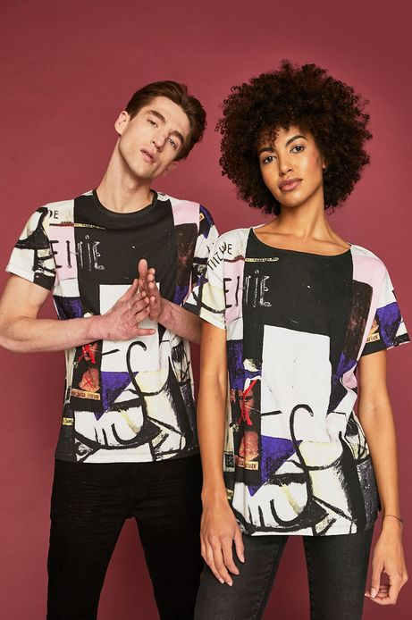 T-shirt męski z kolekcji Eviva L'arte wzorzysty kremowy