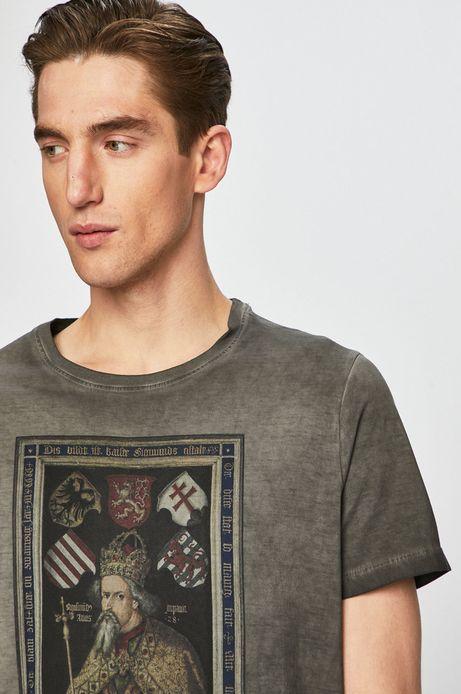 T-shirt męski z kolekcji Eviva L'arte z nadrukiem szary