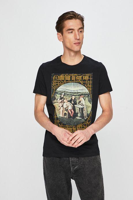 T-shirt męski z kolekcji Eviva L'arte z nadrukiem czarny