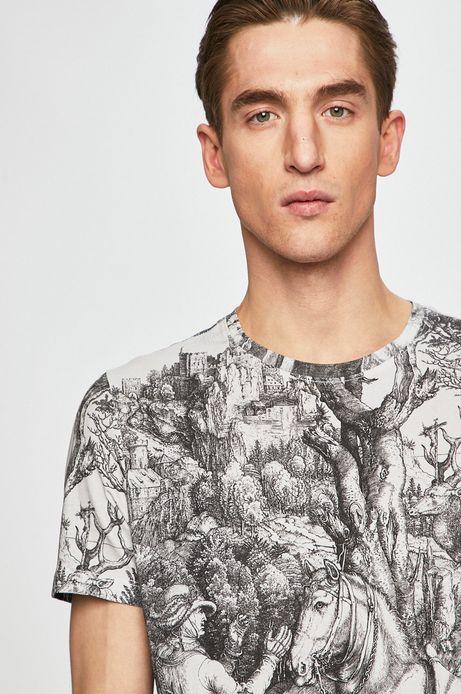 T-shirt męski z kolekcji Aviva L'arte wzorzysty biały