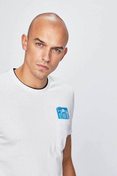 T-shirt męski z kieszonką biały