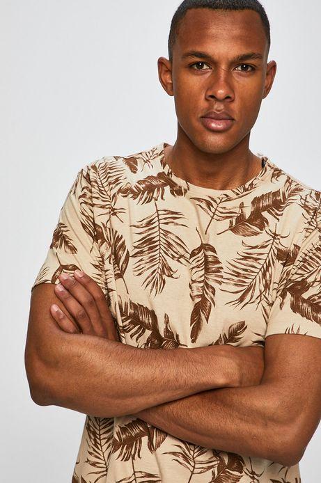 T-shirt męski z domieszką lnu beżowy