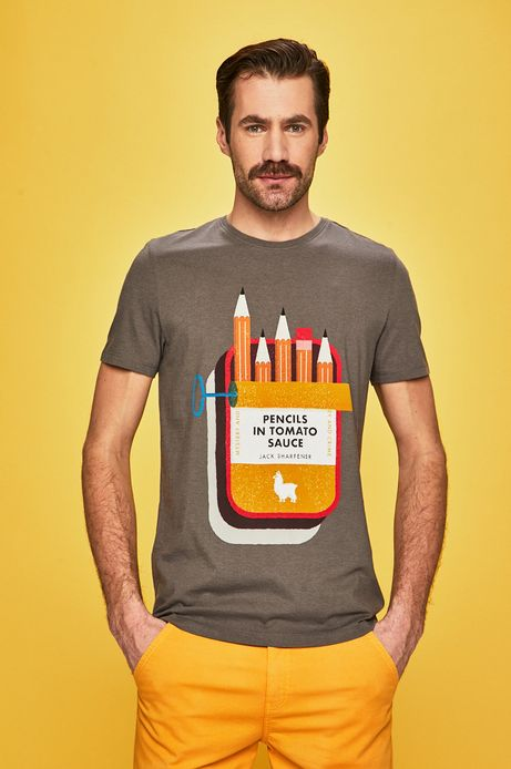 T-shirt męski by Justyna Frąckiewicz szary