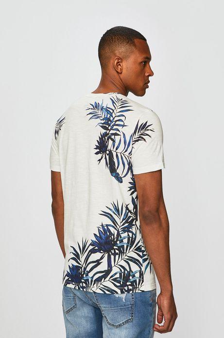 T-shirt męski wzorzyty kremowy