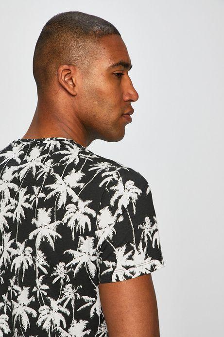 T-shirt męski w palmy czarny