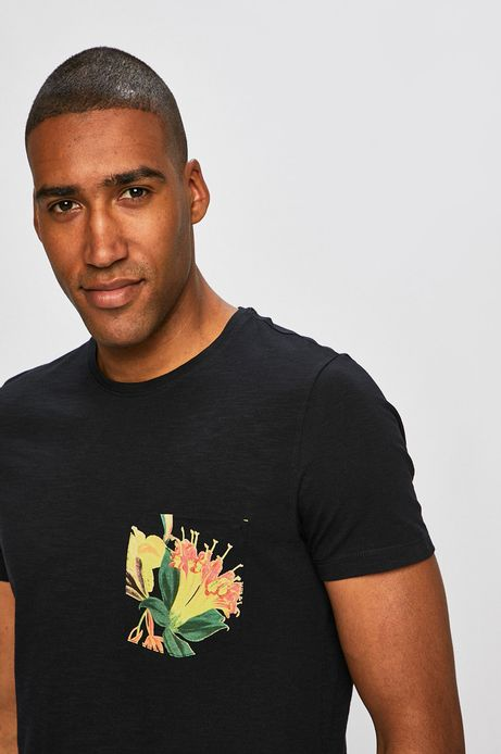 T-shirt męski regular fit czarny