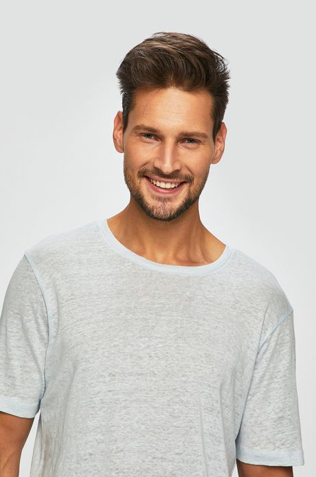 T-shirt męski lniany niebieski