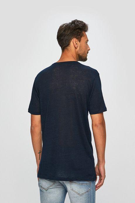 T-shirt męski lniany granatowy
