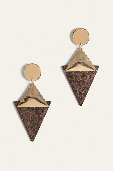 Kolczyki damskie złote z drewnianymi elementami